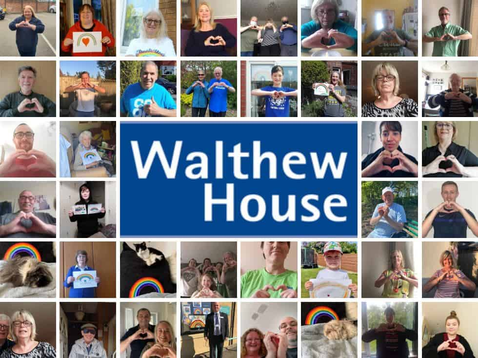 A collage of photographs made up of staff, volunteers, service users and supporters of Walthew House (including a few pets!).