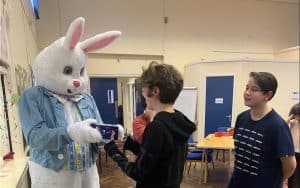 Signing Easter Bunny
