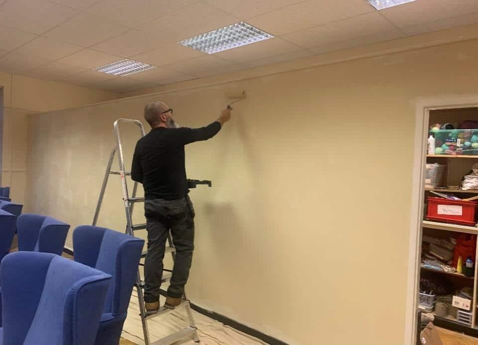 Steve painting main hall